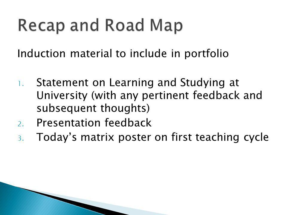 Induction material to include in portfolio 1.