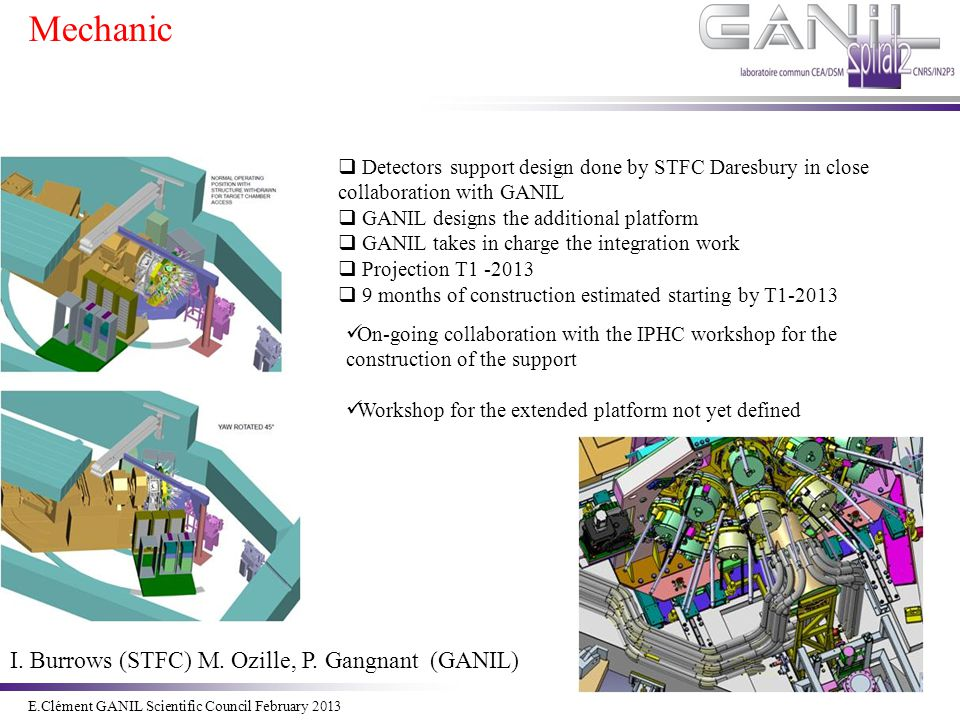 E.Clément Novembre 2011 E.Clément GANIL Scientific Council February 2013  Detectors support design done by STFC Daresbury in close collaboration with GANIL  GANIL designs the additional platform  GANIL takes in charge the integration work  Projection T1 -2013  9 months of construction estimated starting by T1-2013 On-going collaboration with the IPHC workshop for the construction of the support Workshop for the extended platform not yet defined I.