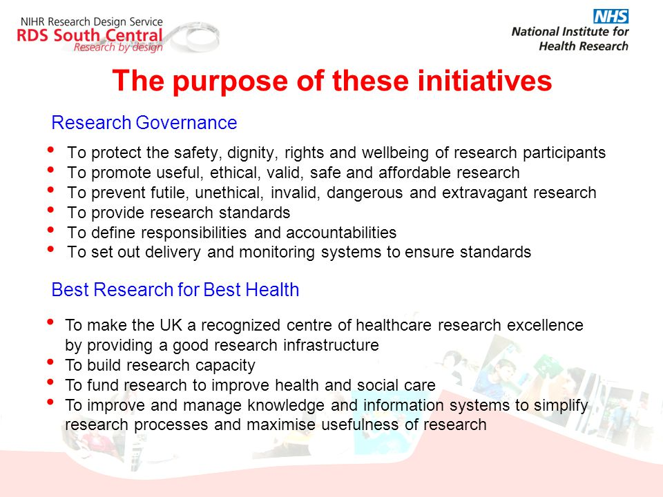 The purpose of these initiatives To protect the safety, dignity, rights and wellbeing of research participants To promote useful, ethical, valid, safe