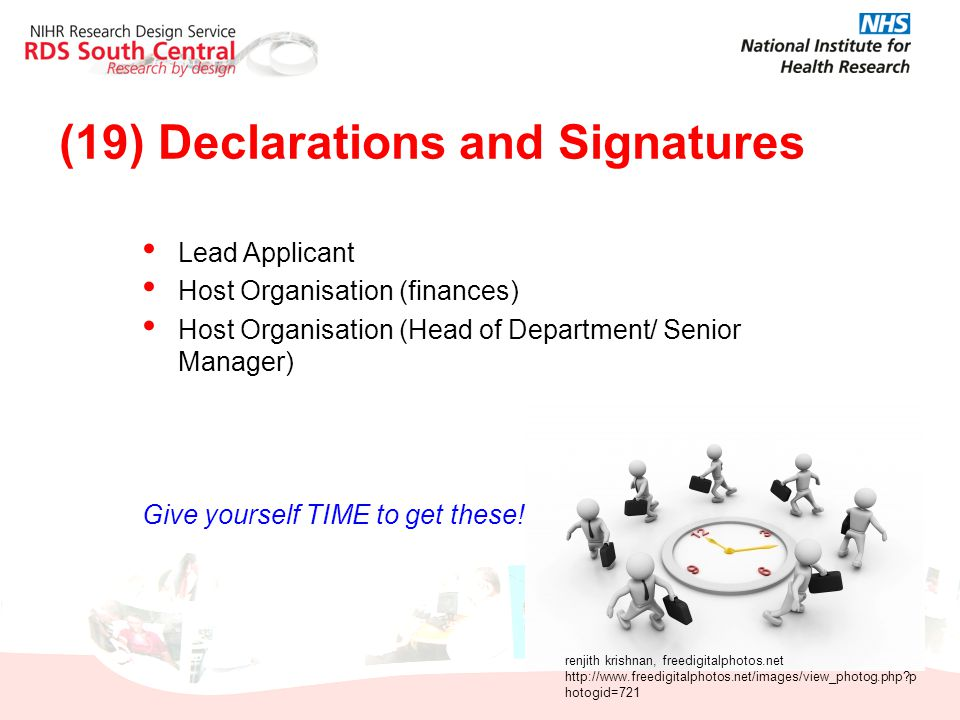 (19) Declarations and Signatures Lead Applicant Host Organisation (finances) Host Organisation (Head of Department/ Senior Manager) Give yourself TIME