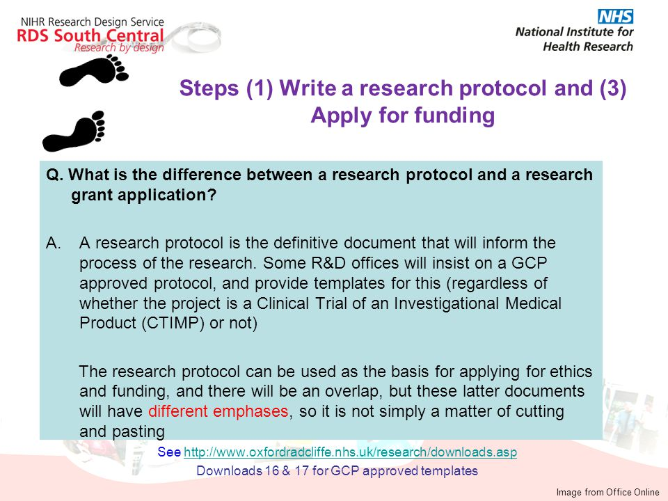 Q. What is the difference between a research protocol and a research grant application? A.A research protocol is the definitive document that will inf