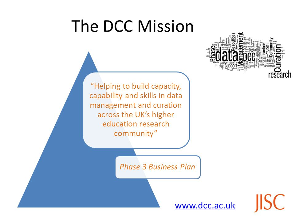 The DCC Mission Helping to build capacity, capability and skills in data management and curation across the UK's higher education research community Phase 3 Business Plan www.dcc.ac.uk