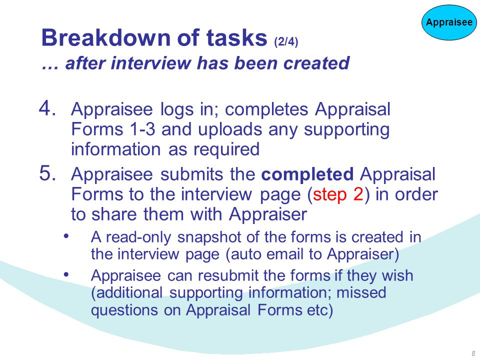8 Breakdown of tasks (2/4) … after interview has been created 4.