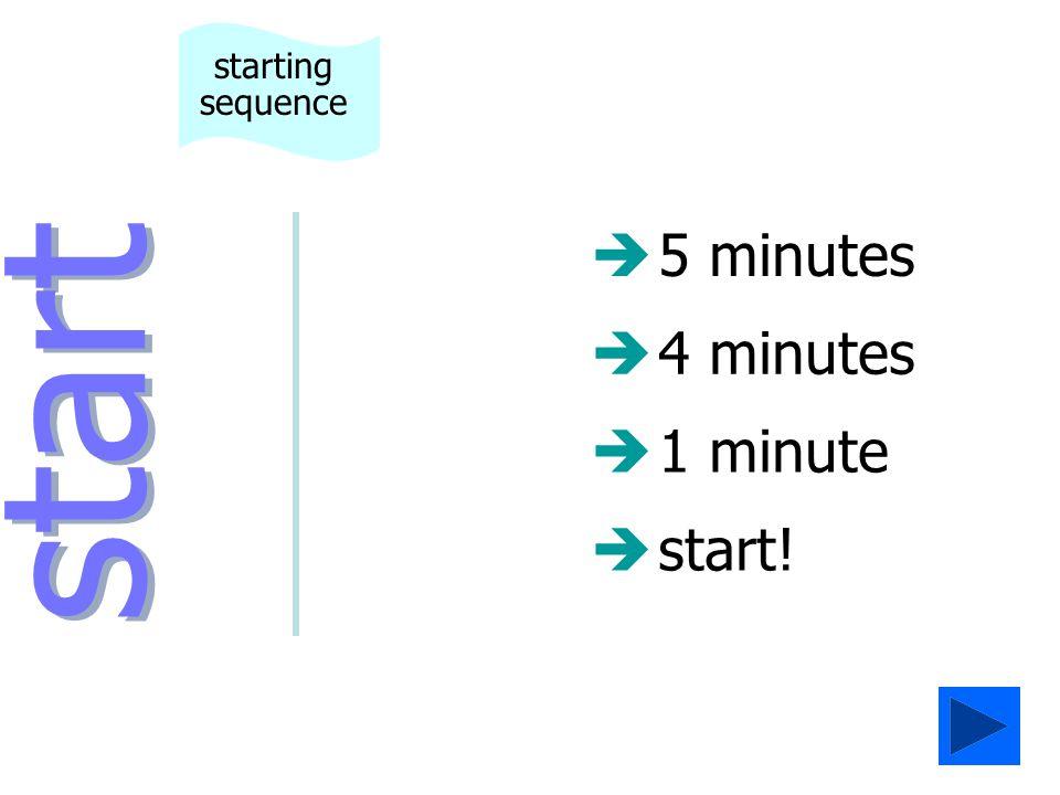 è5 minutes è4 minutes start starting sequence è1 minute