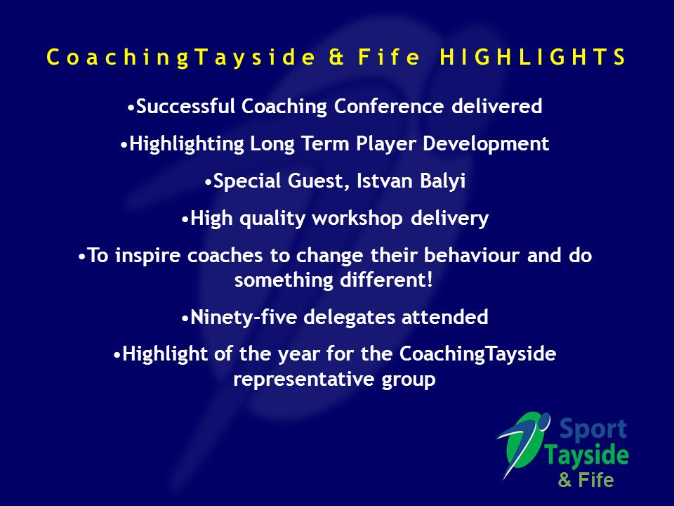 Successful Coaching Conference delivered Highlighting Long Term Player Development Special Guest, Istvan Balyi High quality workshop delivery To inspire coaches to change their behaviour and do something different.