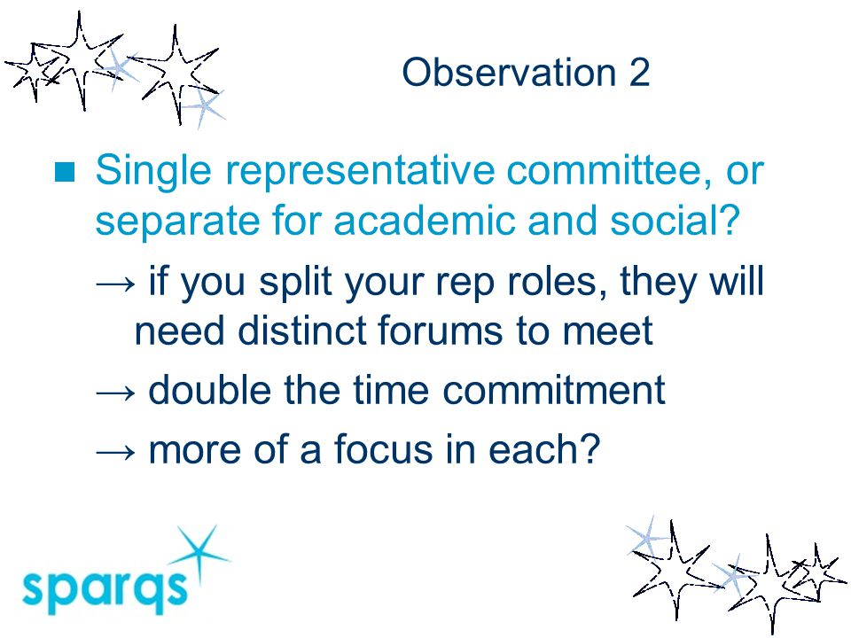 Observation 2 Single representative committee, or separate for academic and social? → if you split your rep roles, they will need distinct forums to m