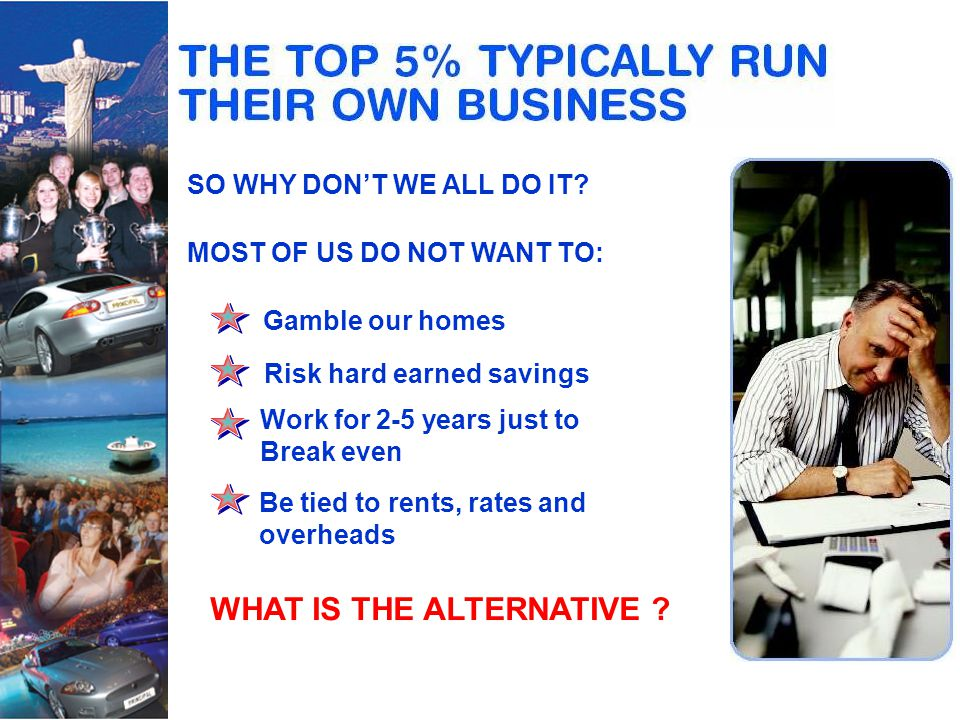 HOME SHOPPING The fastest growing worldwide trend in retailing NETWORK MARKETING The most powerful income structure ever devised Unrestricted income Total flexibility of hours No targets No capital outlay for stock Residual income