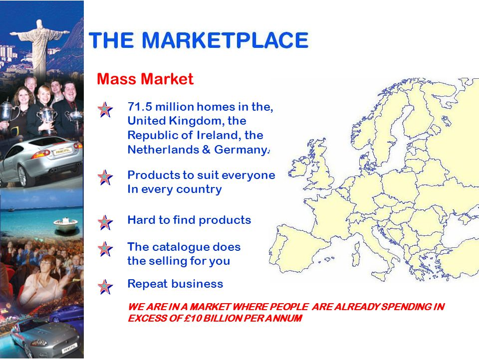 Mass Market 71.5 million homes in the, United Kingdom, the Republic of Ireland, the Netherlands & Germany.