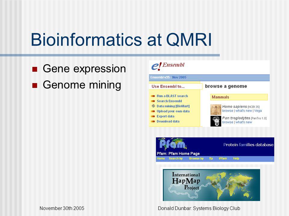 November 30th 2005Donald Dunbar: Systems Biology Club Bioinformatics at QMRI Gene expression Genome mining
