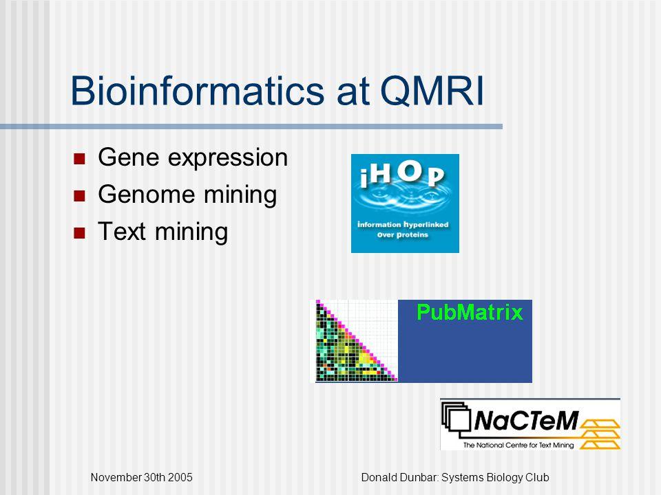 November 30th 2005Donald Dunbar: Systems Biology Club Bioinformatics at QMRI Gene expression Genome mining Text mining
