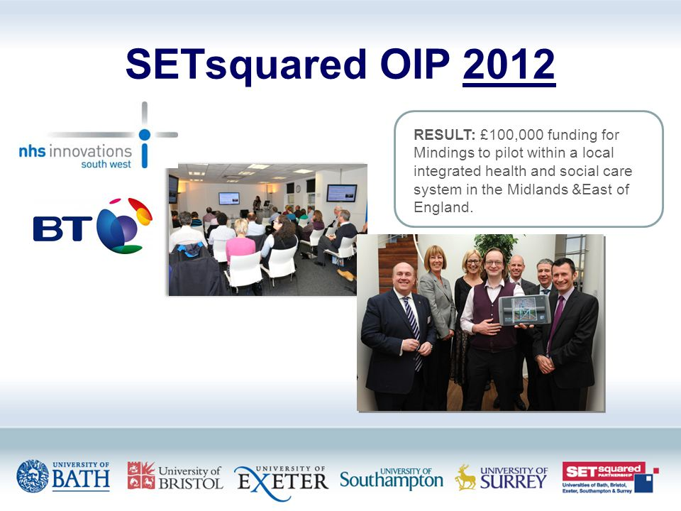 SETsquared OIP 2012 RESULT: £100,000 funding for Mindings to pilot within a local integrated health and social care system in the Midlands &East of England.