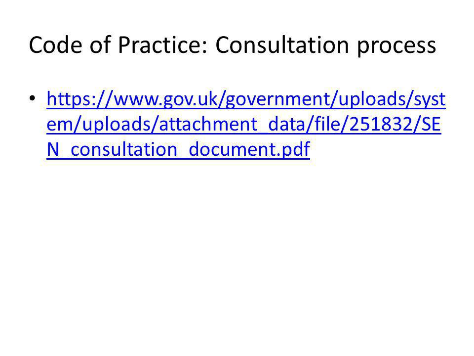 Code of Practice: Consultation process https://www.gov.uk/government/uploads/syst em/uploads/attachment_data/file/251832/SE N_consultation_document.pdf https://www.gov.uk/government/uploads/syst em/uploads/attachment_data/file/251832/SE N_consultation_document.pdf