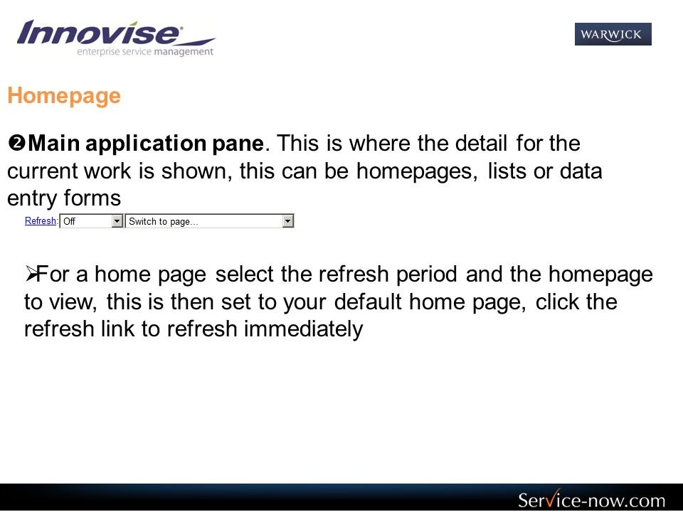 Homepage  Main application pane.