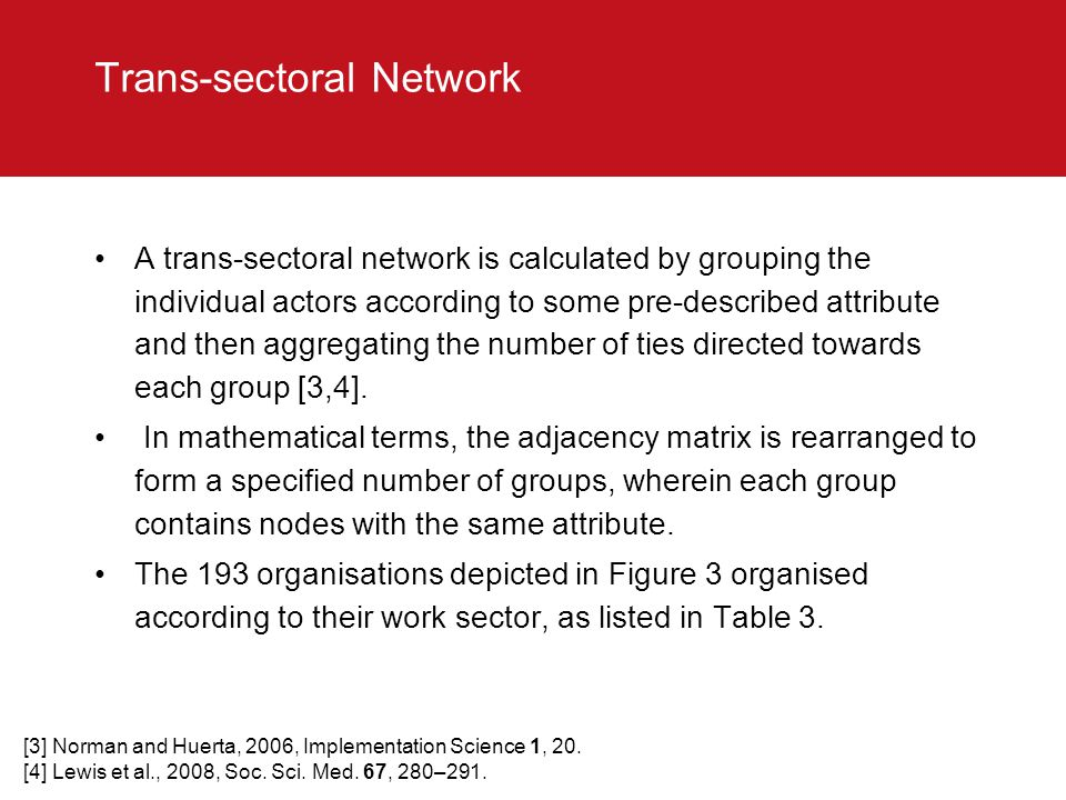 Trans-sectoral Network A trans-sectoral network is calculated by grouping the individual actors according to some pre-described attribute and then agg