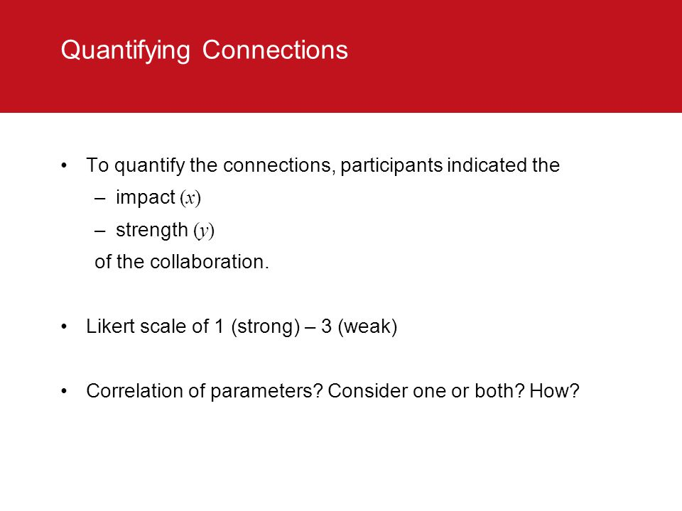 Quantifying Connections To quantify the connections, participants indicated the –impact (x) –strength (y) of the collaboration.