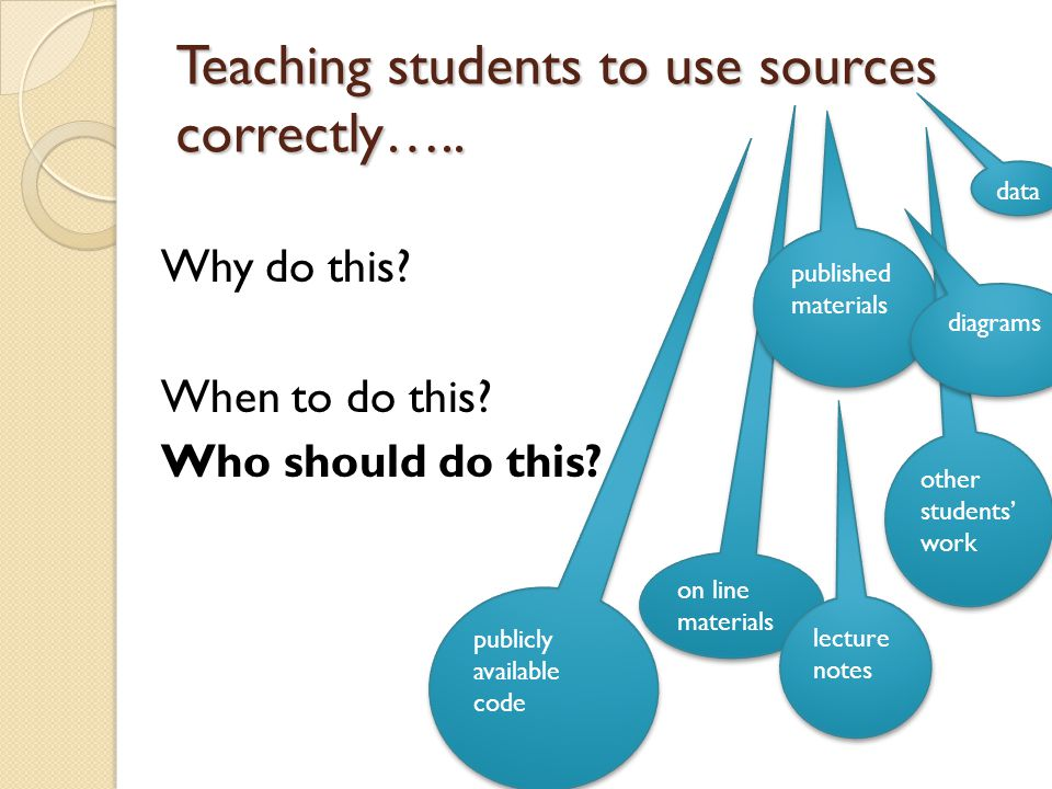 Teaching students to use sources correctly….. Why do this.