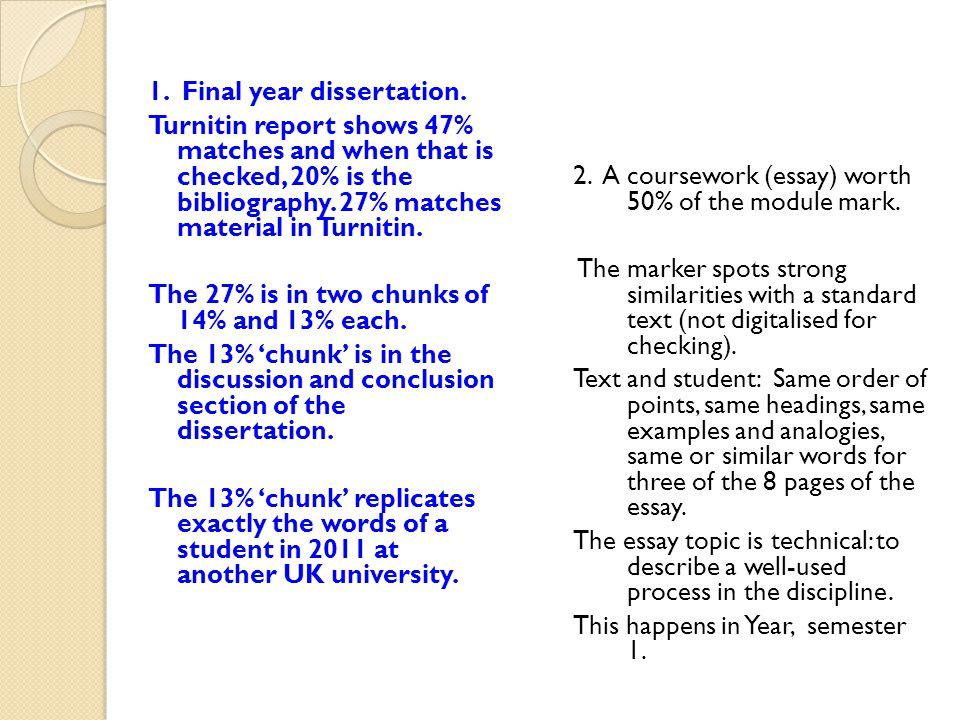 1. Final year dissertation.