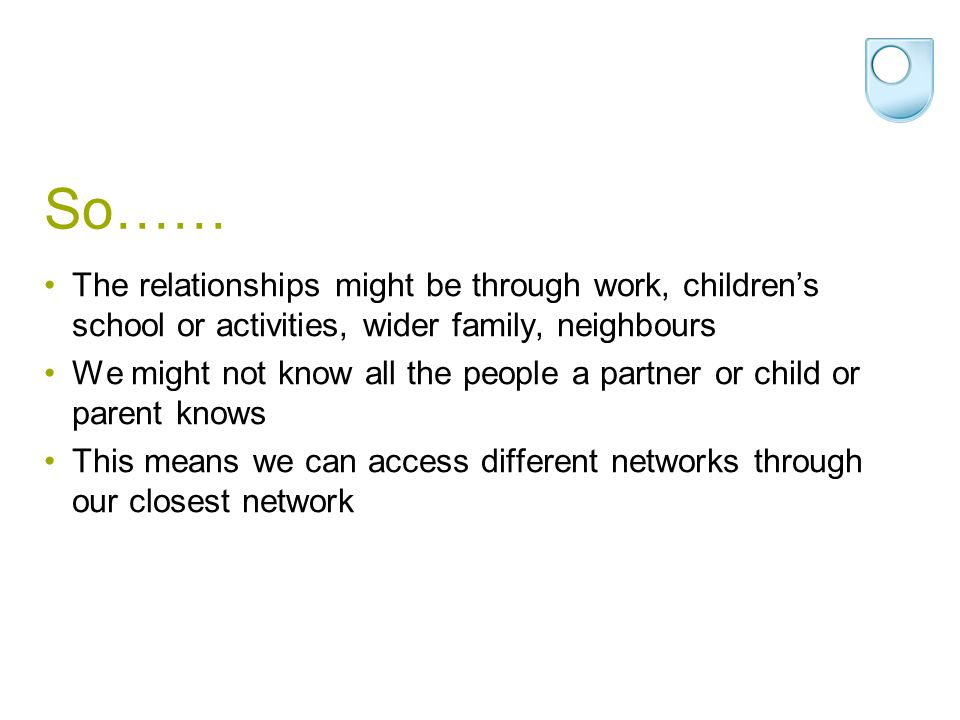 So…… The relationships might be through work, children's school or activities, wider family, neighbours We might not know all the people a partner or child or parent knows This means we can access different networks through our closest network