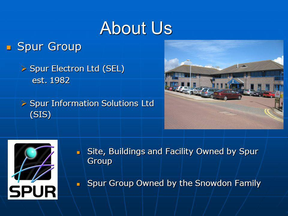 About Us Site, Buildings and Facility Owned by Spur Group Site, Buildings and Facility Owned by Spur Group Spur Group Owned by the Snowdon Family Spur Group Owned by the Snowdon Family Spur Group Spur Group  Spur Electron Ltd (SEL) est.