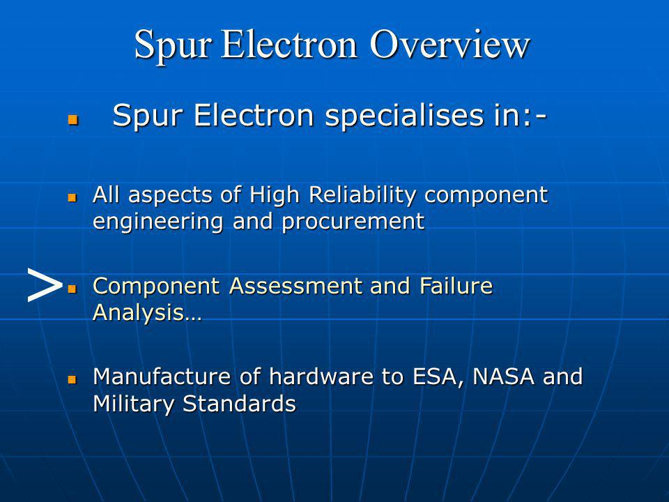 Spur Electron specialises in:- Spur Electron specialises in:- All aspects of High Reliability component engineering and procurement All aspects of High Reliability component engineering and procurement Component Assessment and Failure Analysis… Component Assessment and Failure Analysis… Manufacture of hardware to ESA, NASA and Military Standards Manufacture of hardware to ESA, NASA and Military Standards >