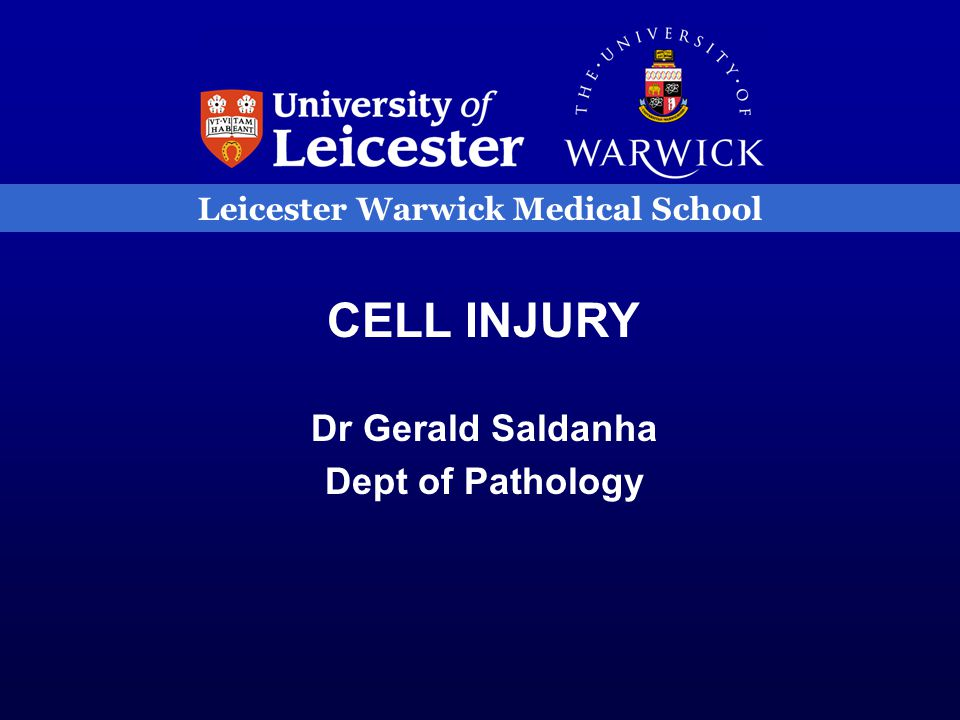 Leicester Warwick Medical School CELL INJURY Dr Gerald Saldanha Dept of Pathology