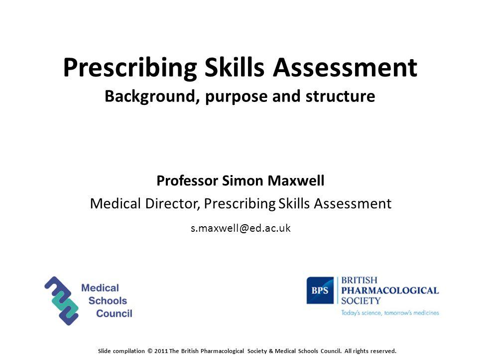 Prescribing Skills Assessment Blueprint