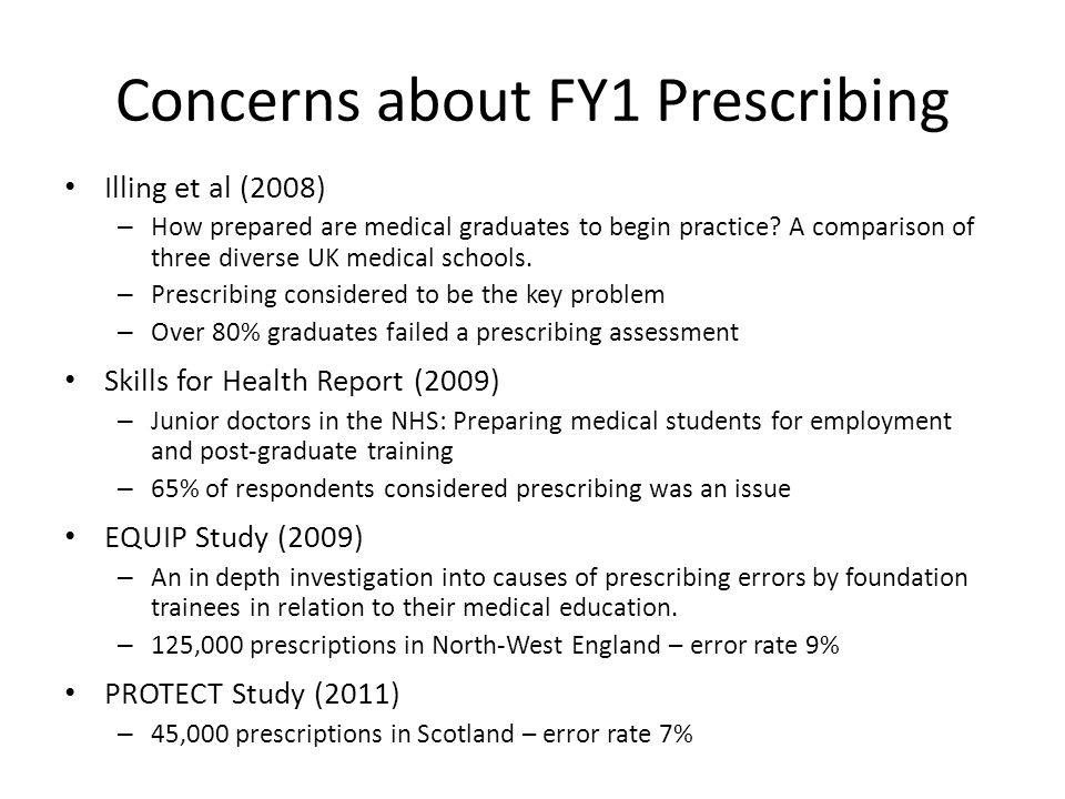 Concerns about FY1 Prescribing Illing et al (2008) – How prepared are medical graduates to begin practice.
