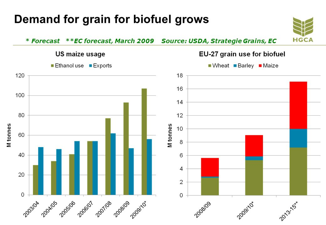 Demand for grain for biofuel grows * Forecast **EC forecast, March 2009 Source: USDA, Strategie Grains, EC