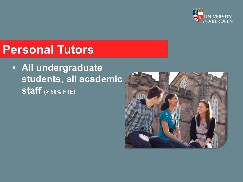 Personal Tutors All undergraduate students, all academic staff (> 50% FTE)