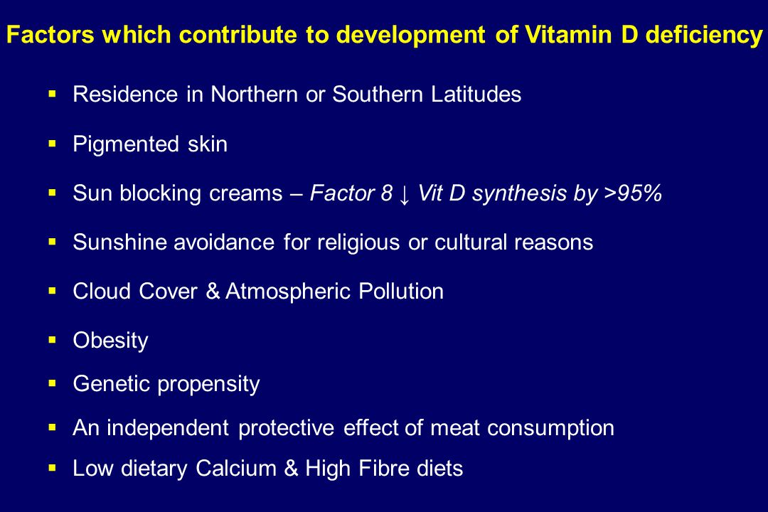 Factors which contribute to development of Vitamin D deficiency   Residence in Northern or Southern Latitudes   Pigmented skin   Sun blocking cr