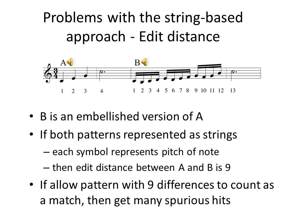 Problems with the string-based approach - Edit distance B is an embellished version of A If both patterns represented as strings – each symbol represe