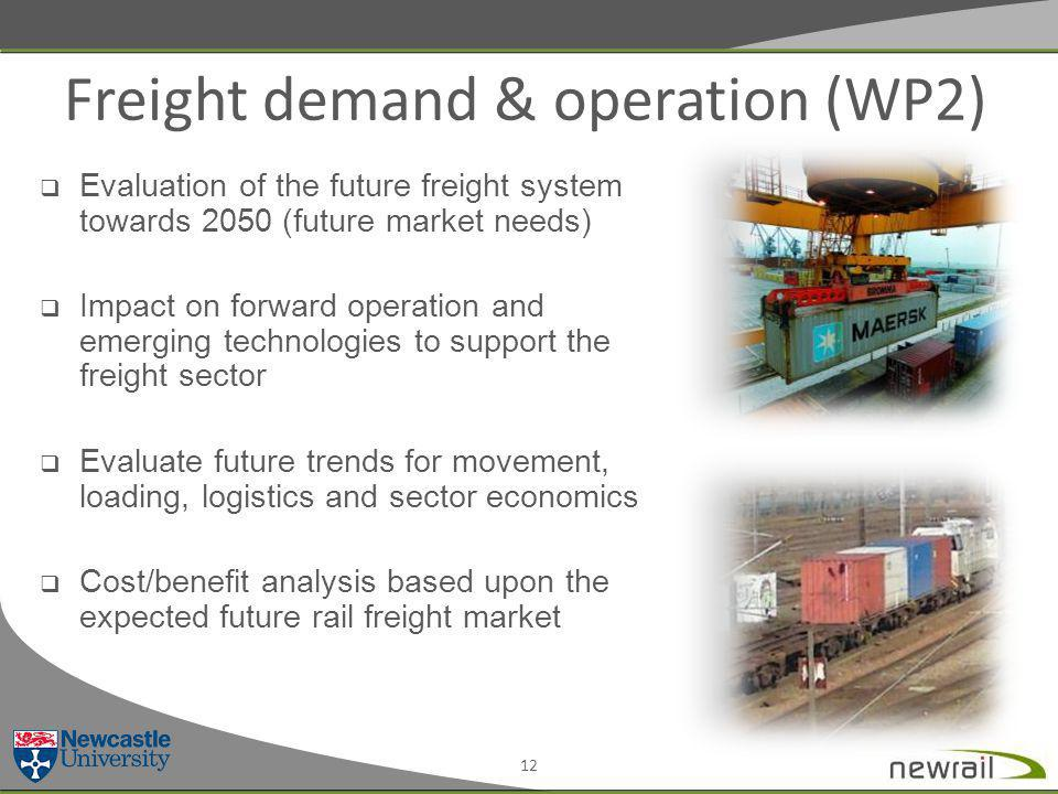 Freight demand & operation (WP2) 12  Evaluation of the future freight system towards 2050 (future market needs)  Impact on forward operation and emerging technologies to support the freight sector  Evaluate future trends for movement, loading, logistics and sector economics  Cost/benefit analysis based upon the expected future rail freight market