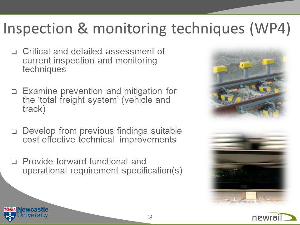 Inspection & monitoring techniques (WP4) 14  Critical and detailed assessment of current inspection and monitoring techniques  Examine prevention and mitigation for the 'total freight system' (vehicle and track)  Develop from previous findings suitable cost effective technical improvements  Provide forward functional and operational requirement specification(s)