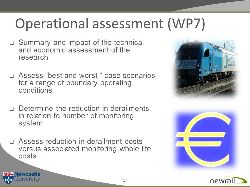 Operational assessment (WP7) 17  Summary and impact of the technical and economic assessment of the research  Assess best and worst case scenarios for a range of boundary operating conditions  Determine the reduction in derailments in relation to number of monitoring system  Assess reduction in derailment costs versus associated monitoring whole life costs