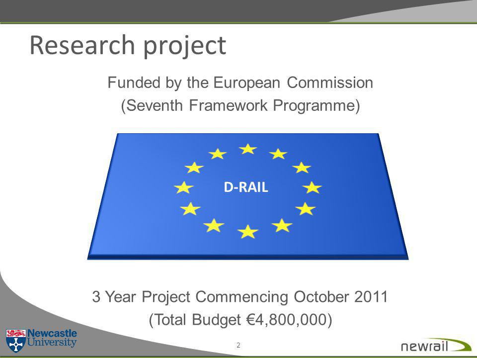 Research project Funded by the European Commission (Seventh Framework Programme) 3 Year Project Commencing October 2011 (Total Budget €4,800,000) 2 D-RAIL