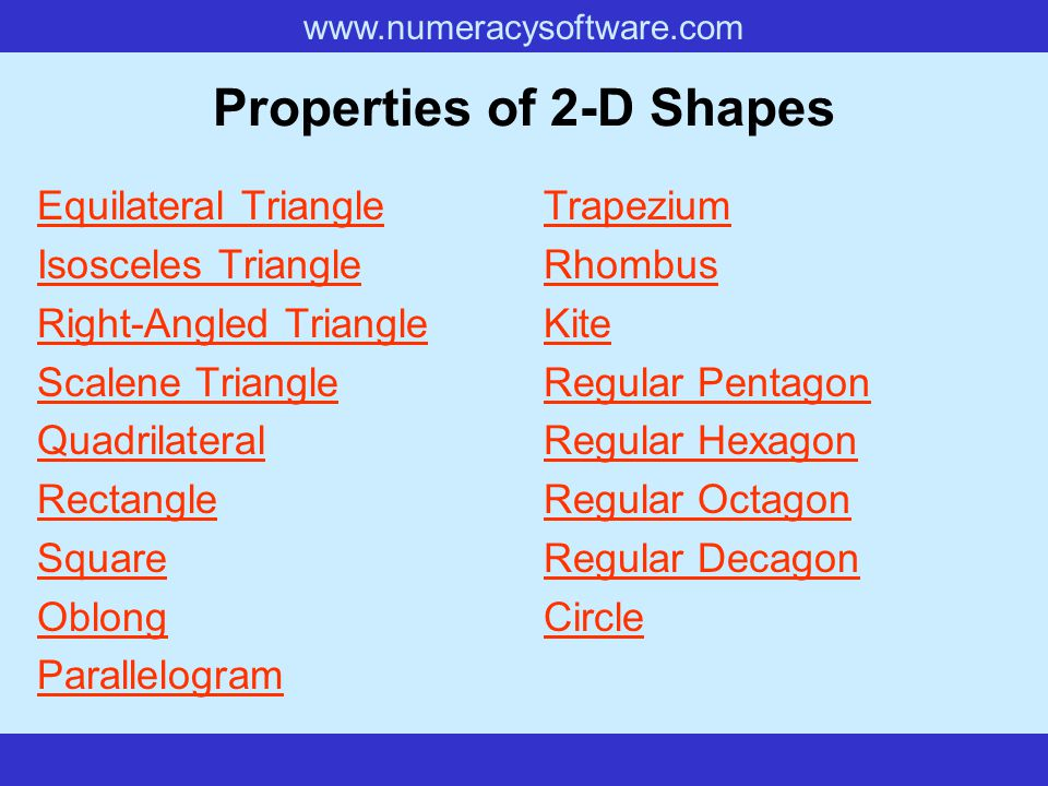 www.numeracysoftware.com Rhombus A quadrilateral with four equal sides.quadrilateral Key Features Lines of Symmetry.