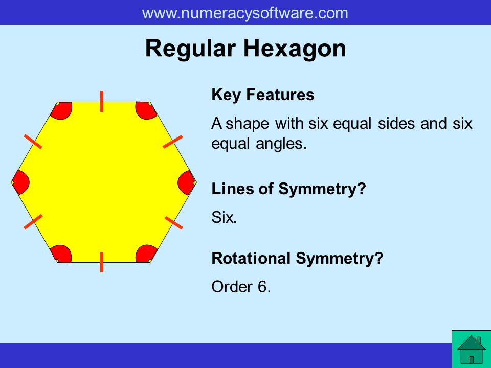 www.numeracysoftware.com Regular Hexagon A shape with six equal sides and six equal angles. Key Features Lines of Symmetry? Rotational Symmetry? Six.