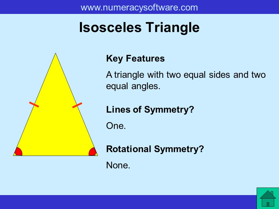 www.numeracysoftware.com Isosceles Triangle A triangle with two equal sides and two equal angles. Key Features Lines of Symmetry? Rotational Symmetry?