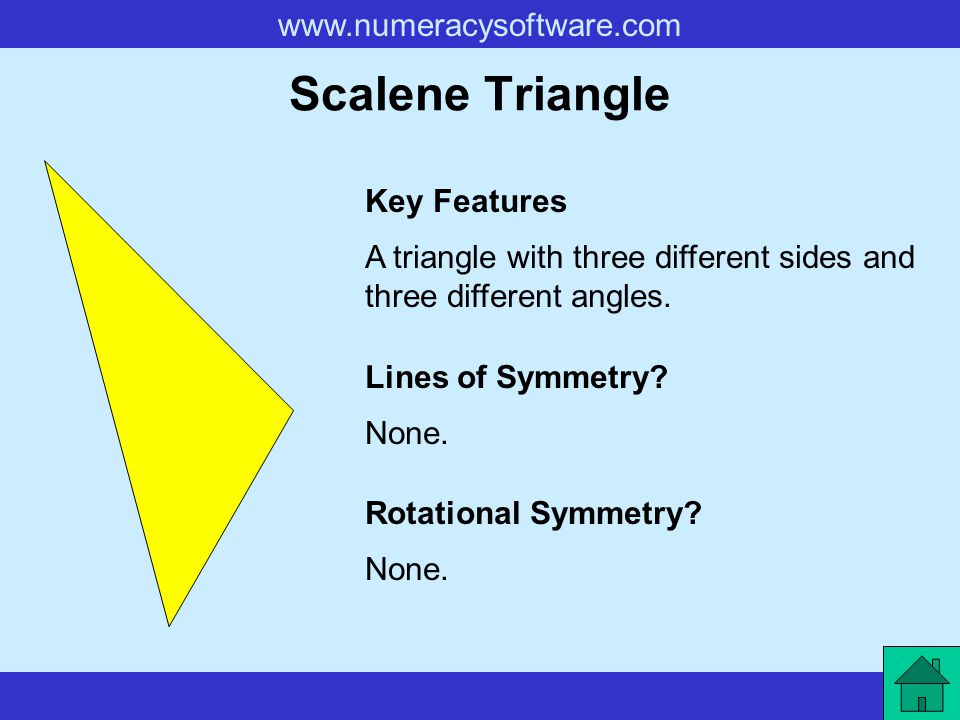 www.numeracysoftware.com Right-Angled Triangle A triangle with one right-angle.