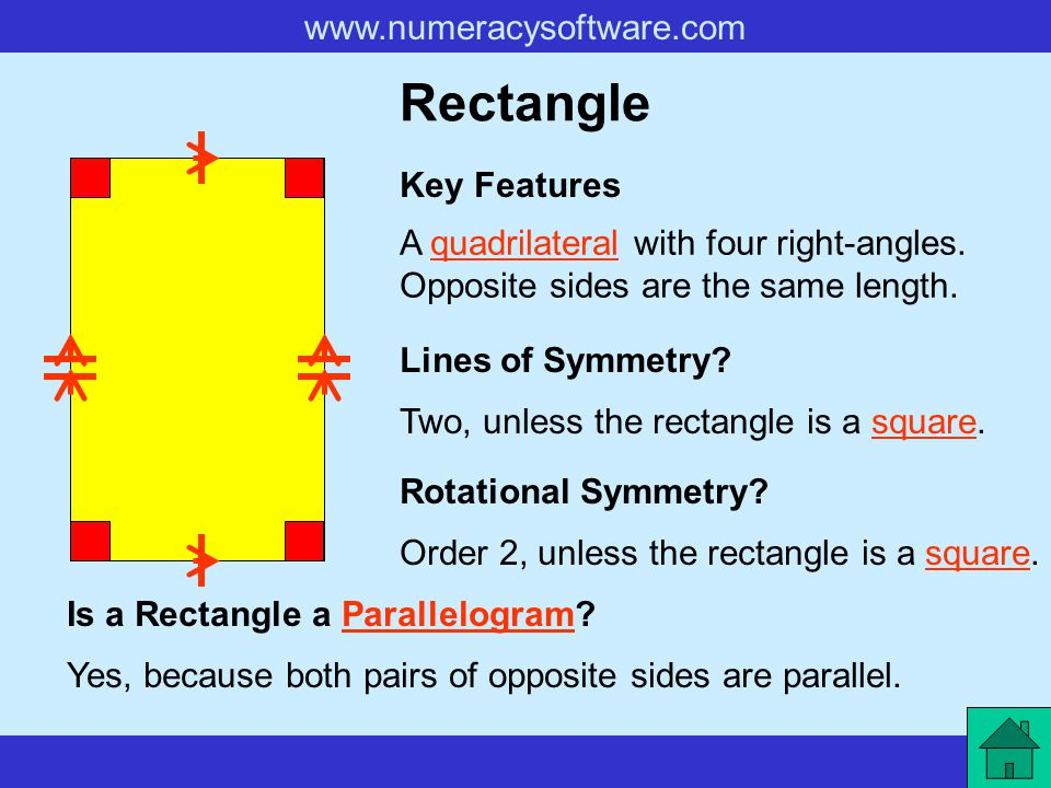 www.numeracysoftware.com Square A quadrilateral with four equal sides and four right-angles.quadrilateral Key Features Lines of Symmetry.