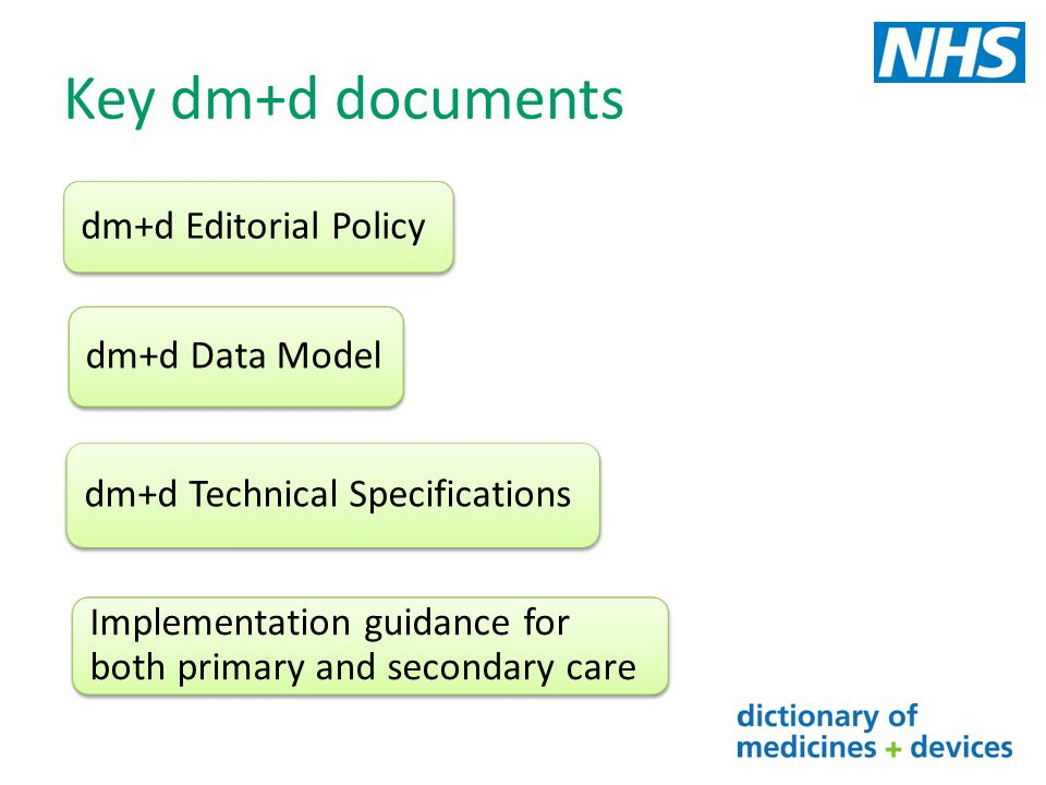 Key dm+d documents dm+d Editorial Policy dm+d Data Model dm+d Technical Specifications Implementation guidance for both primary and secondary care