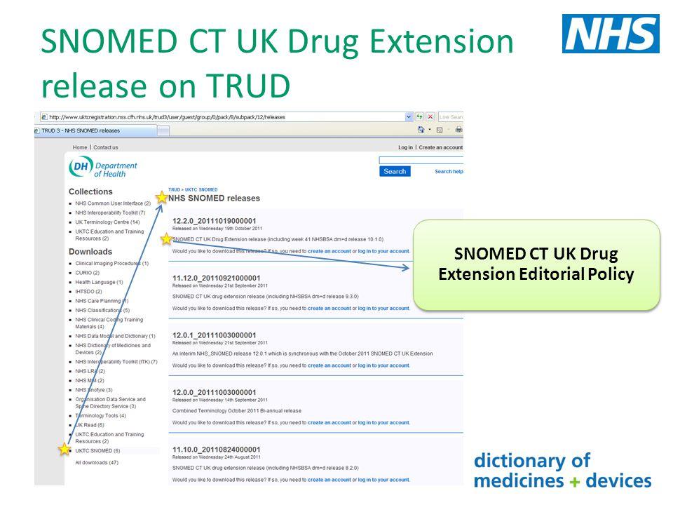 SNOMED CT UK Drug Extension release on TRUD SNOMED CT UK Drug Extension Editorial Policy