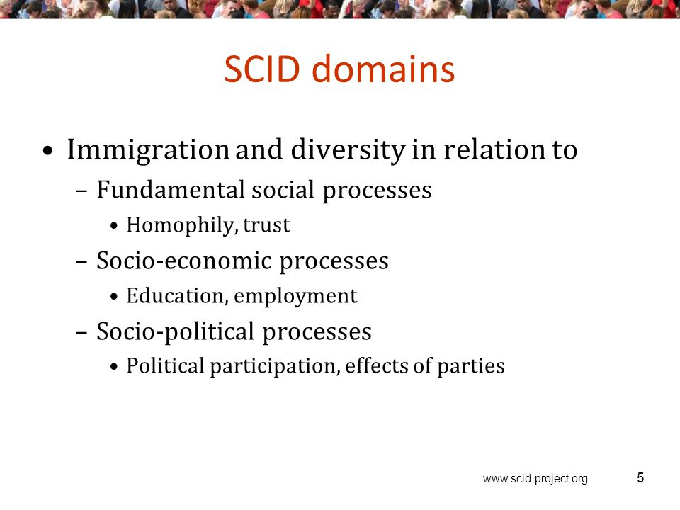 www.scid-project.org 5 SCID domains Immigration and diversity in relation to –Fundamental social processes Homophily, trust –Socio-economic processes Education, employment –Socio-political processes Political participation, effects of parties