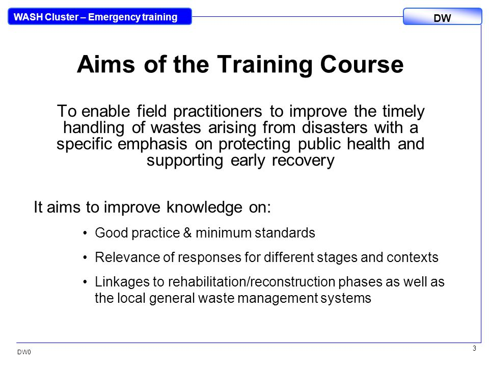 DW WASH Cluster – Emergency training DW0 4 Timetable TimeNoModule / name Day 1 8.30 (15 min)DW0Opening session 8.45 (1 hr 15 min)DW1What is Disaster Waste .