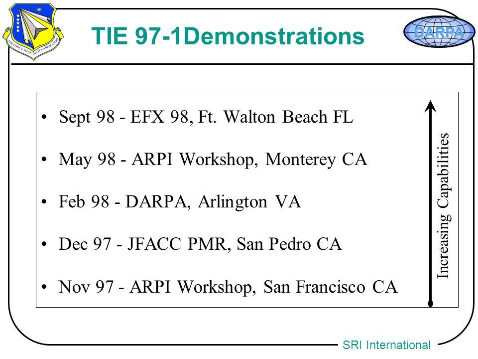 SRI International TIE 97-1Demonstrations Sept 98 - EFX 98, Ft. Walton Beach FL May 98 - ARPI Workshop, Monterey CA Feb 98 - DARPA, Arlington VA Dec 97