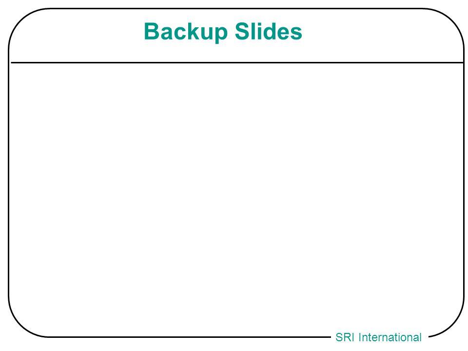 SRI International Backup Slides