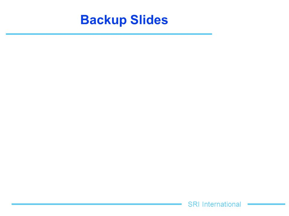 SRI International Backup Slides