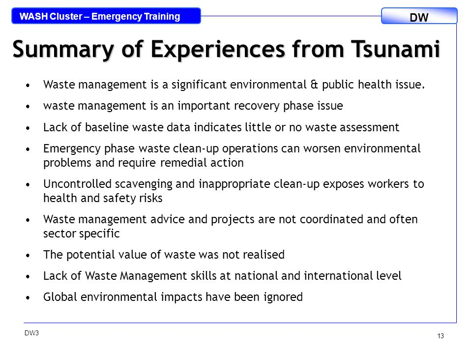WASH Cluster – Emergency Training DW DW3 13 Summary of Experiences from Tsunami Waste management is a significant environmental & public health issue.