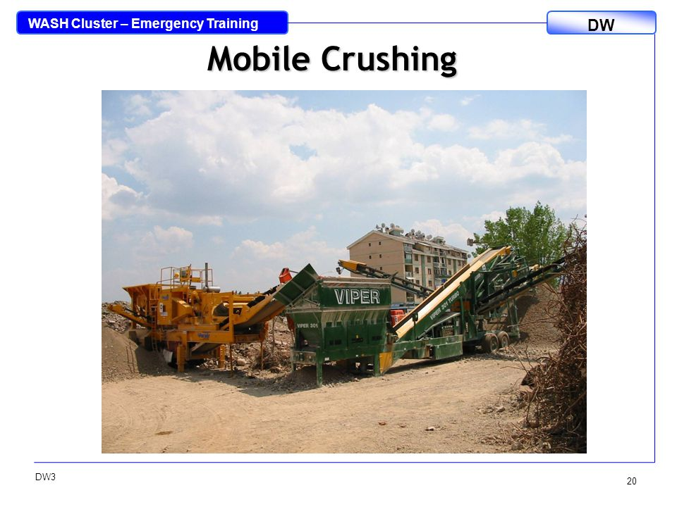 WASH Cluster – Emergency Training DW DW3 20 Mobile Crushing