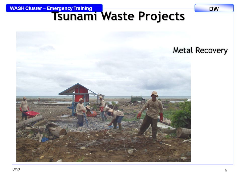 WASH Cluster – Emergency Training DW DW3 10 Tsunami Waste Projects Oxfam Re-Use Centre